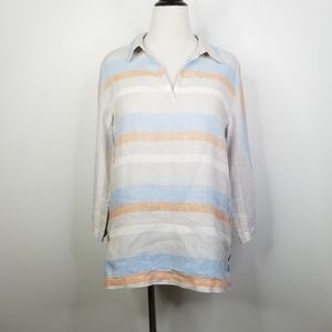 Cynthia Rowley Striped Linen Popover Tunic  L